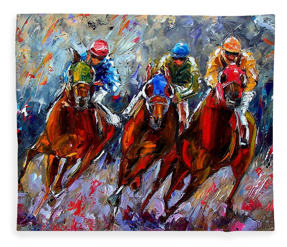 Horse Race Fleece Blanket featuring the painting The Turn by Debra Hurd