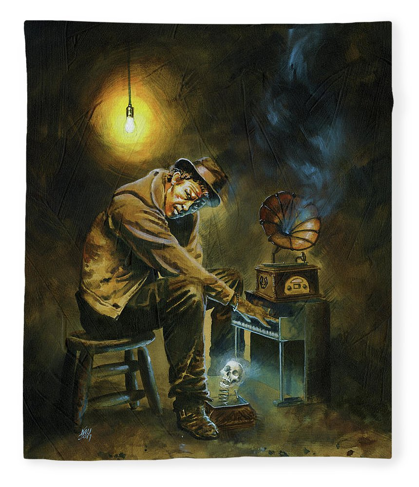Tom Waits Fleece Blanket featuring the painting Tom Waits by Ken Meyer jr