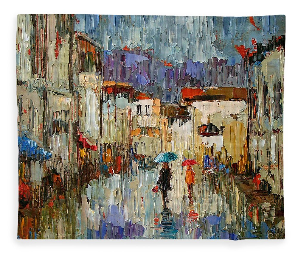 Impressionist Fleece Blanket featuring the painting Tourists by Debra Hurd