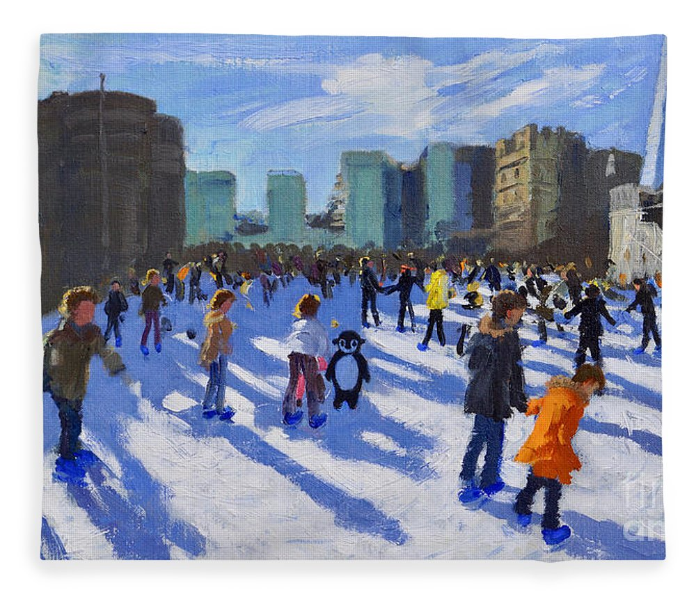 Tower Fleece Blanket featuring the painting Tower Of London Ice Rink by Andrew Macara