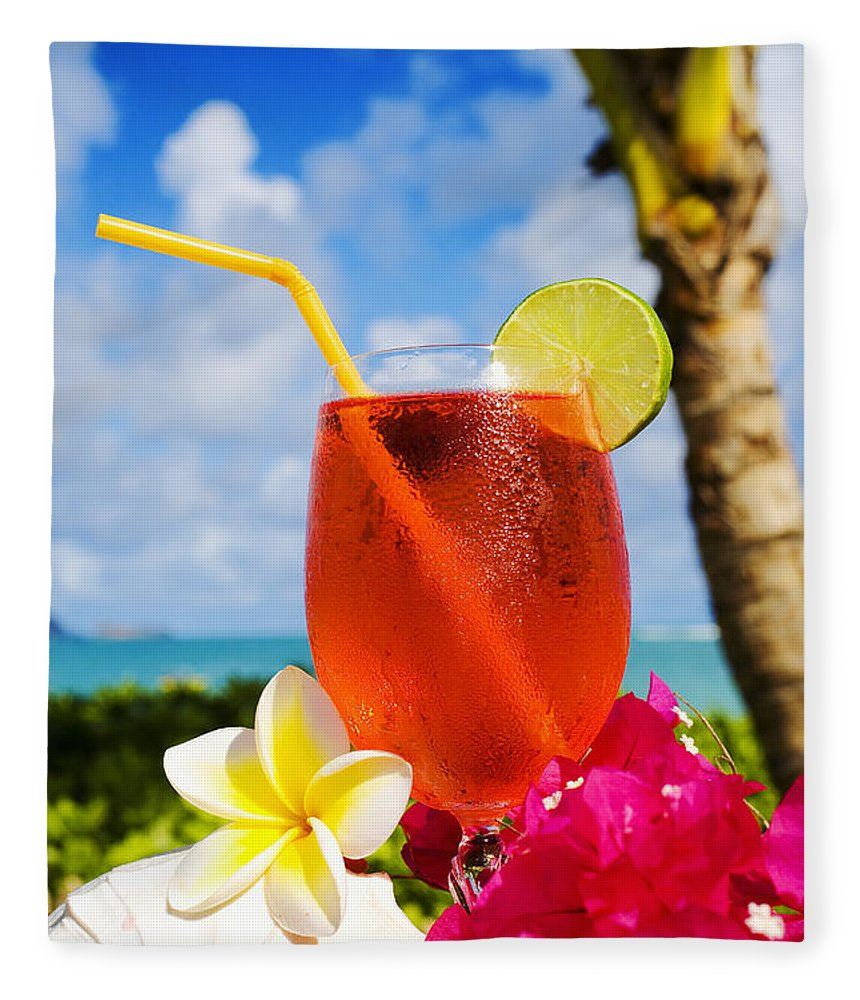 Bar Fleece Blanket featuring the photograph Tropical Cocktail by Tomas del Amo - Printscapes