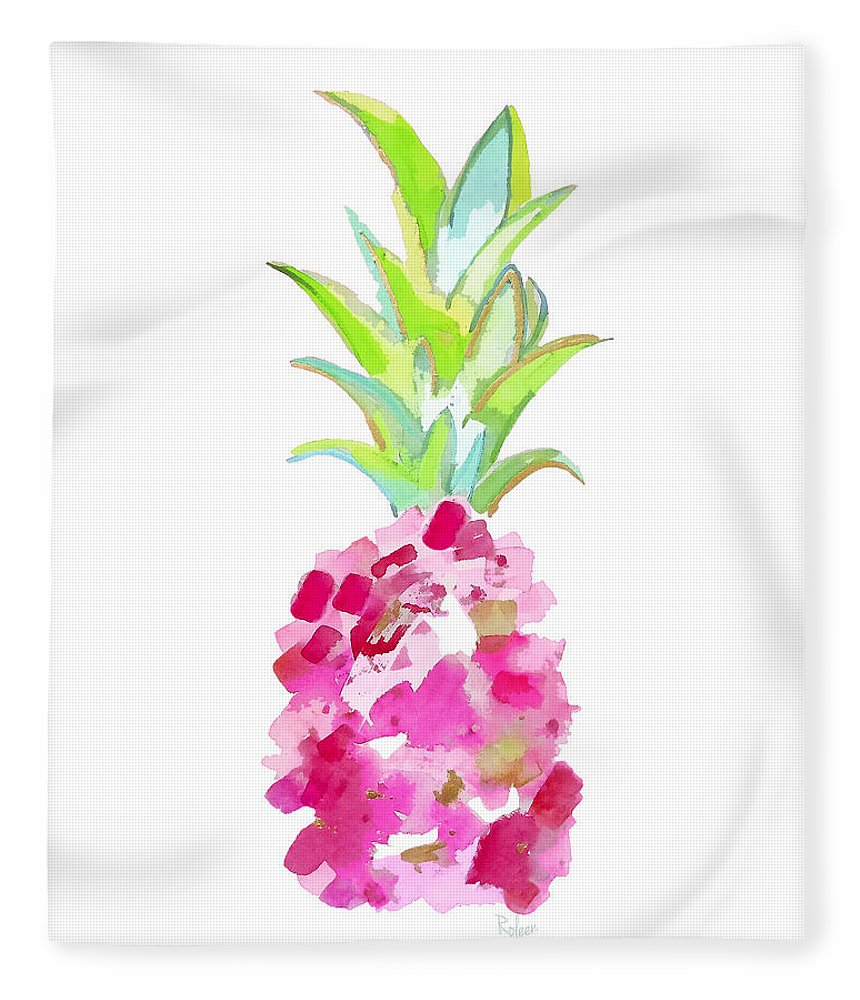 Pink Pineapple Fleece Blanket featuring the painting Tropical Pink And Gold by Roleen Senic