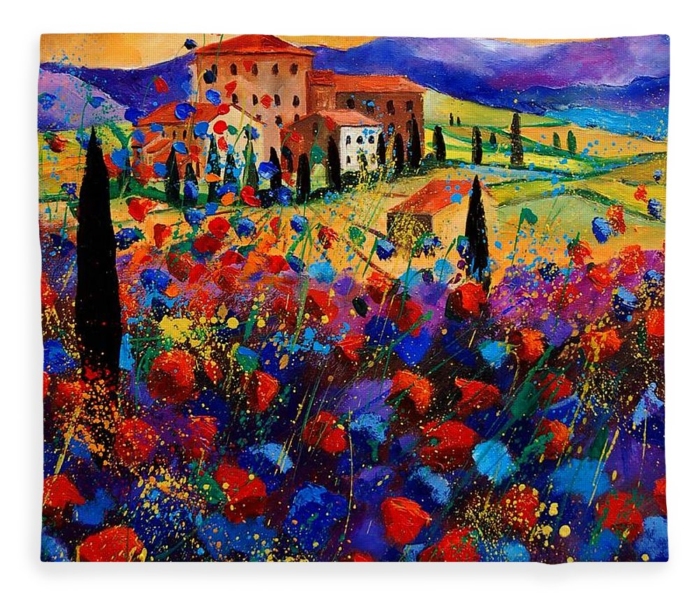 Flowers Fleece Blanket featuring the painting Tuscany poppies by Pol Ledent