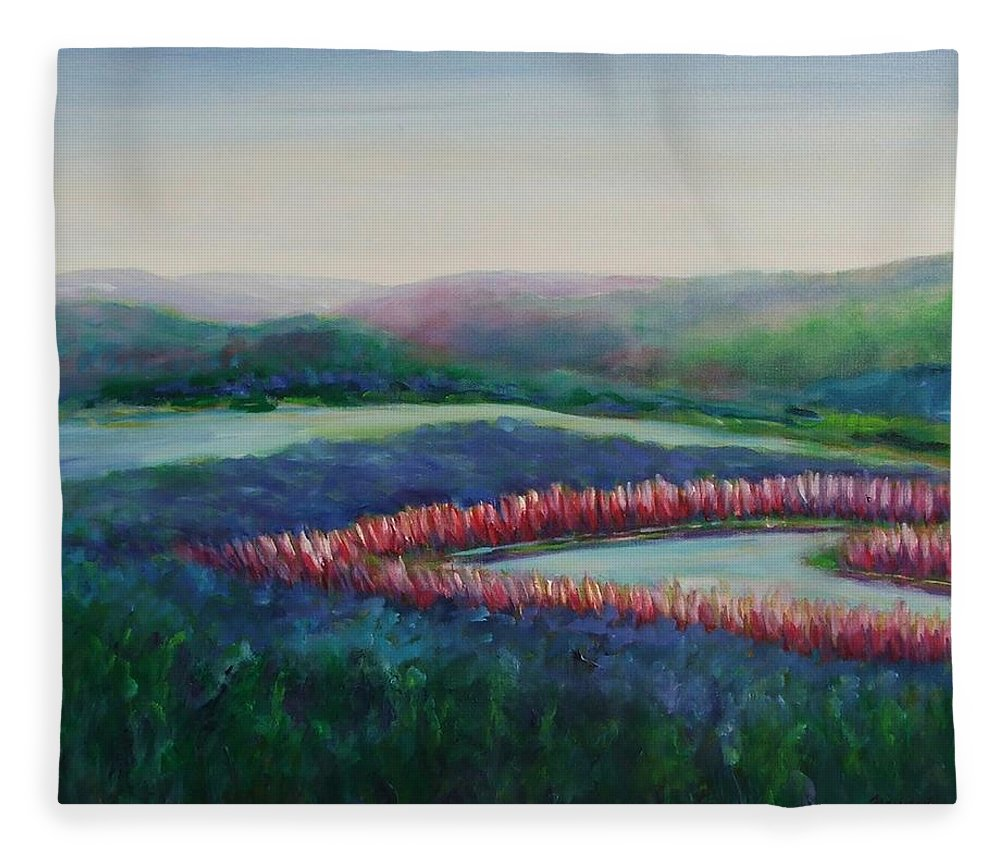 Landscape Fleece Blanket featuring the painting Tweet Stream by Shannon Grissom