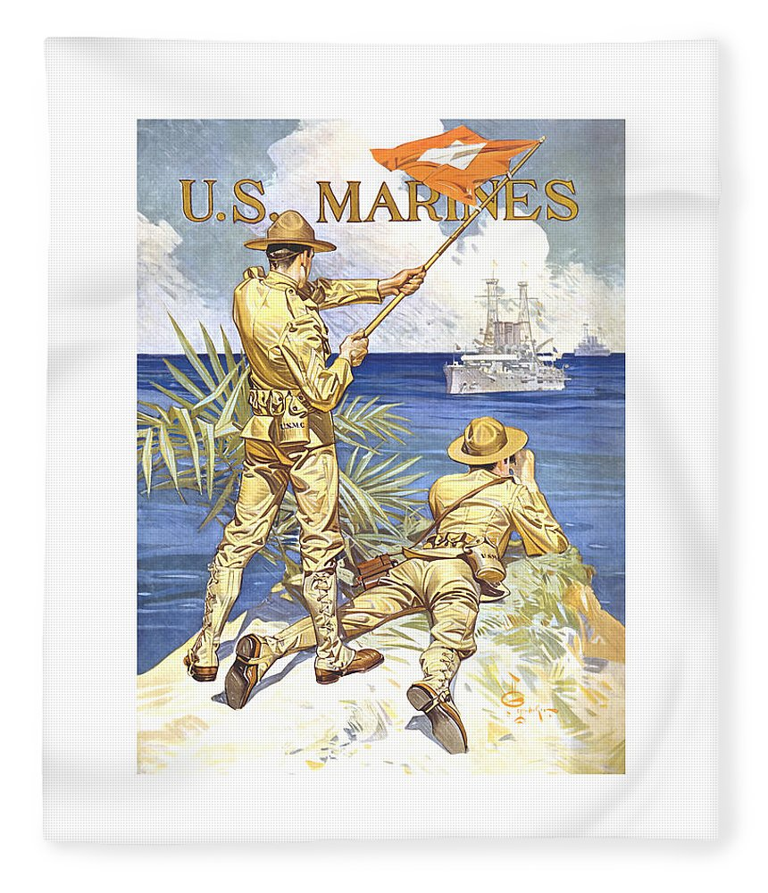 Marines Fleece Blanket featuring the painting Us Marines - Ww1 by War Is Hell Store