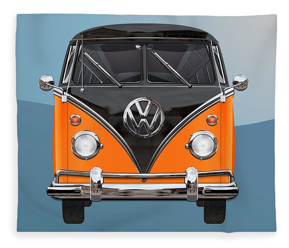 'volkswagen Type 2' Collection By Serge Averbukh Fleece Blanket featuring the photograph Volkswagen Type 2 - Black And Orange Volkswagen T 1 Samba Bus Over Blue by Serge Averbukh