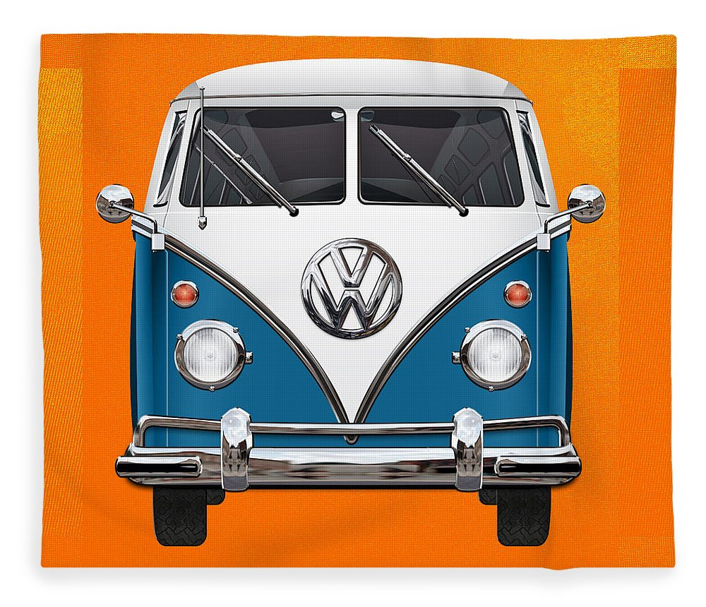 'volkswagen Type 2' Collection By Serge Averbukh Fleece Blanket featuring the photograph Volkswagen Type 2 - Blue And White Volkswagen T 1 Samba Bus Over Orange Canvas by Serge Averbukh