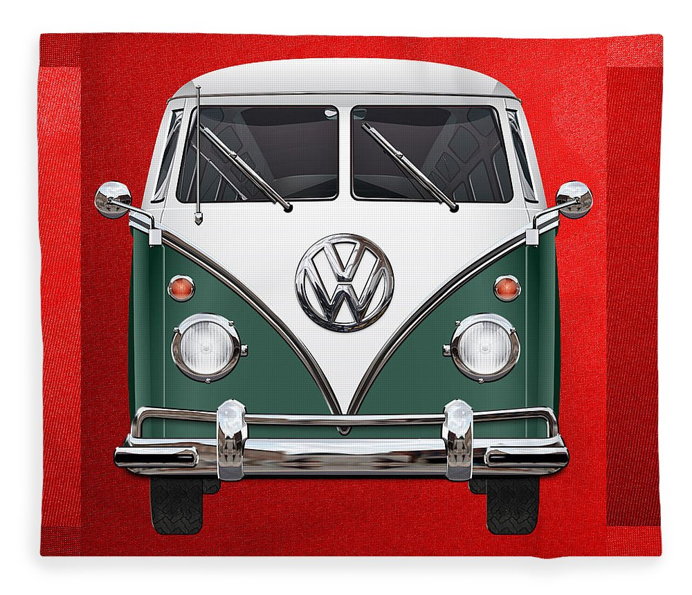 'volkswagen Type 2' Collection By Serge Averbukh Fleece Blanket featuring the photograph Volkswagen Type 2 - Green And White Volkswagen T 1 Samba Bus Over Red Canvas by Serge Averbukh