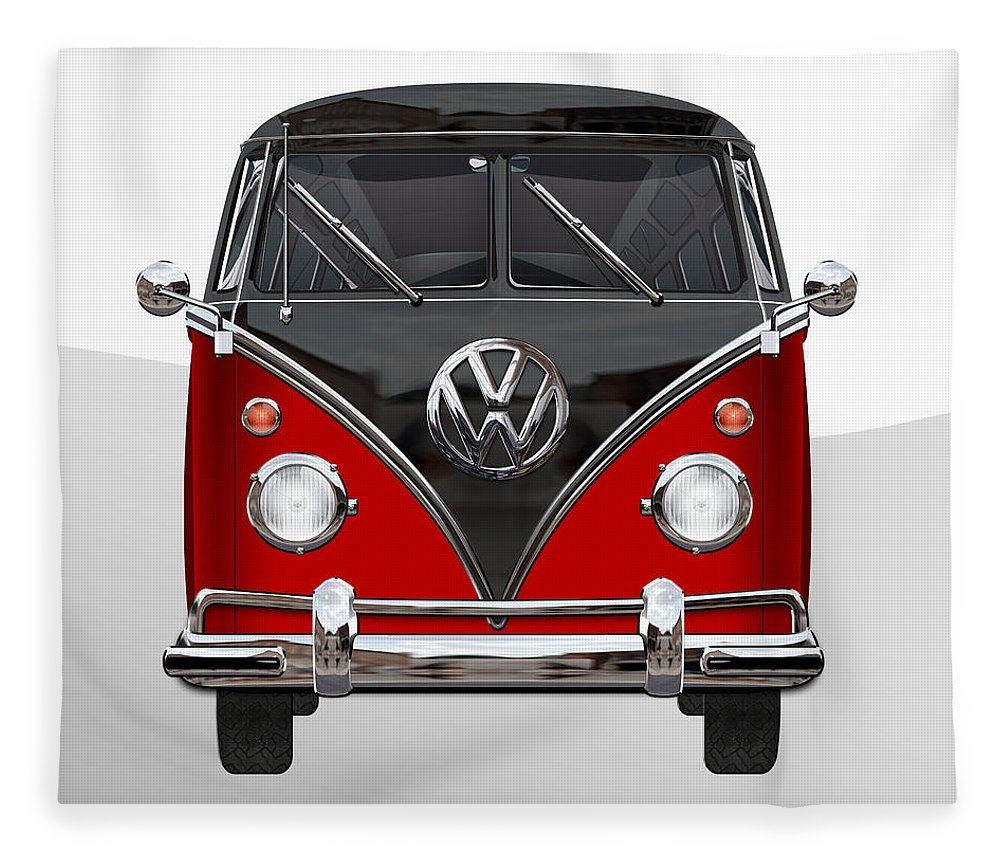 'volkswagen Type 2' Collection By Serge Averbukh Fleece Blanket featuring the photograph Volkswagen Type 2 - Red and Black Volkswagen T 1 Samba Bus on White by Serge Averbukh