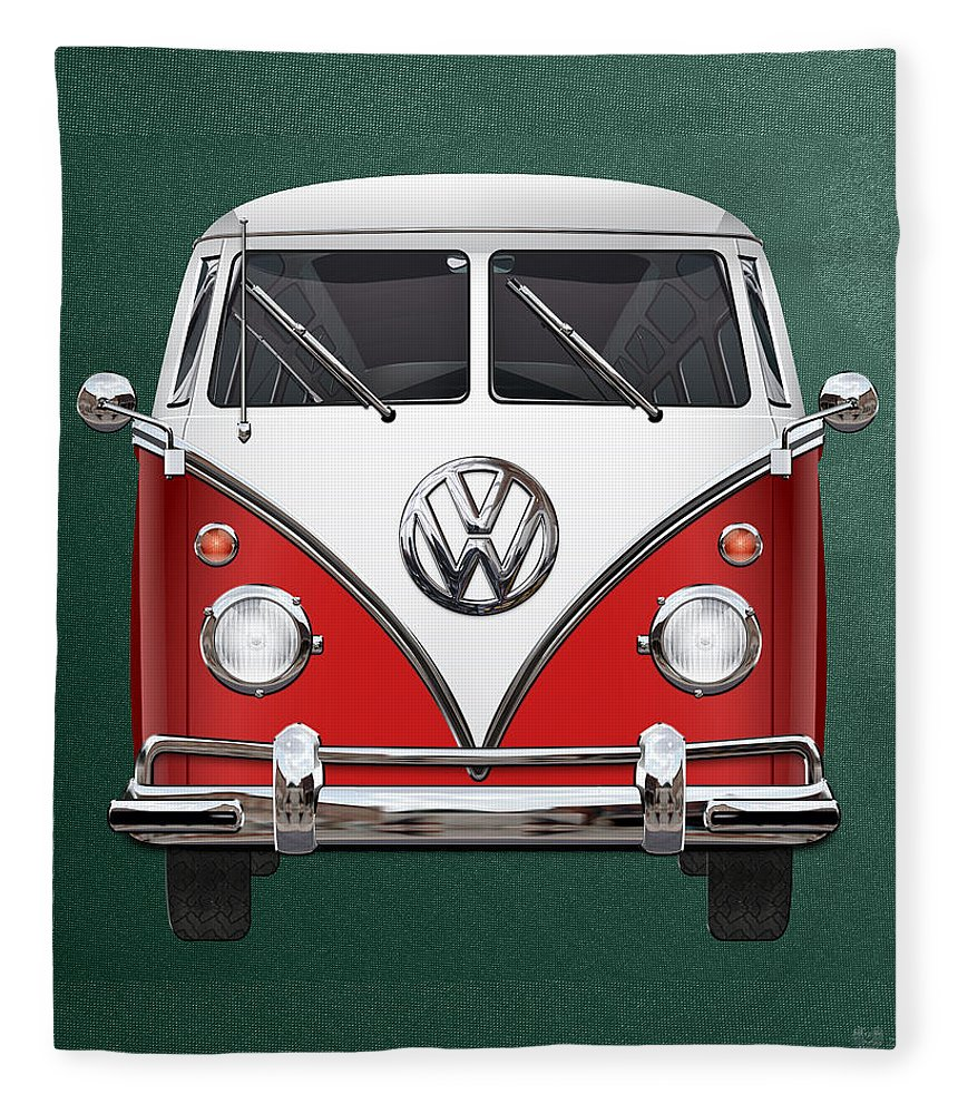 'volkswagen Type 2' Collection By Serge Averbukh Fleece Blanket featuring the photograph Volkswagen Type 2 - Red And White Volkswagen T 1 Samba Bus Over Green Canvas by Serge Averbukh