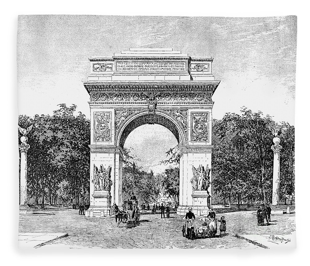 1889 Fleece Blanket featuring the photograph Washington Square Arch by Granger
