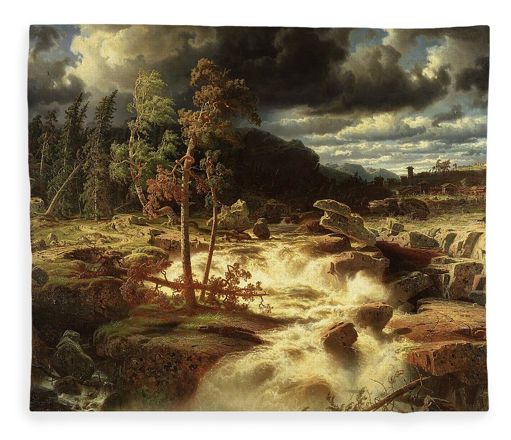 Swedish Art Fleece Blanket featuring the painting Waterfall In Smaland by Marcus Larson