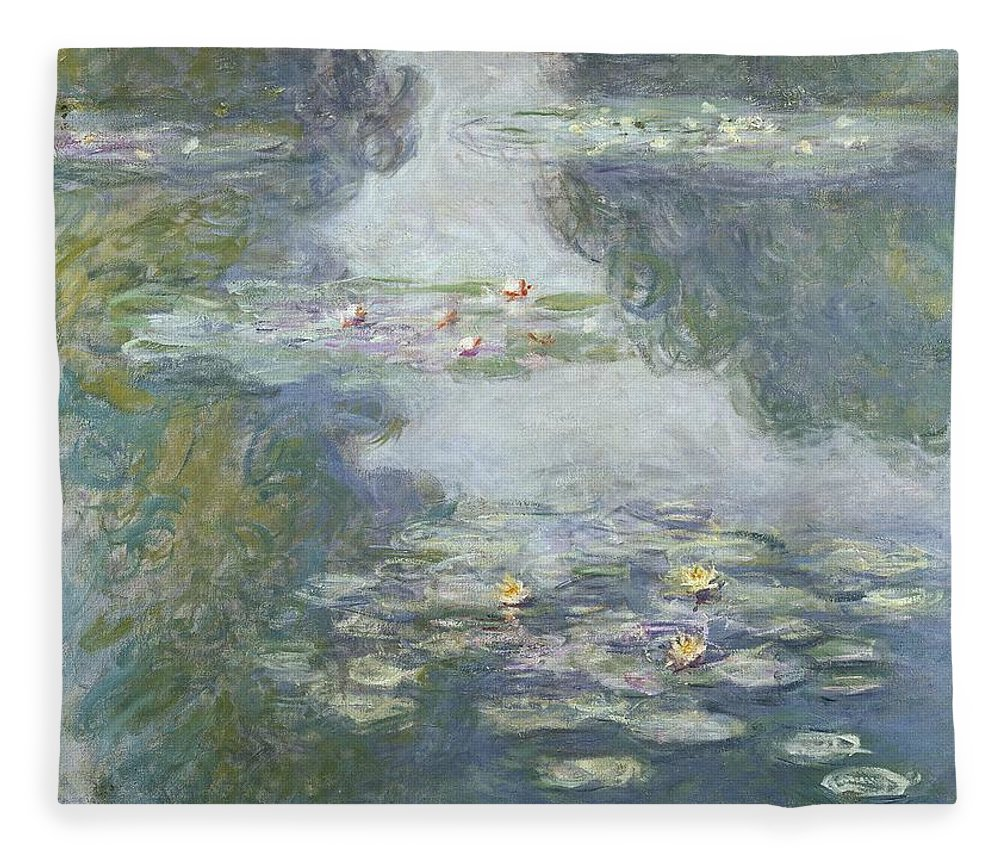 Pads Fleece Blanket featuring the painting Waterlilies by Claude Monet