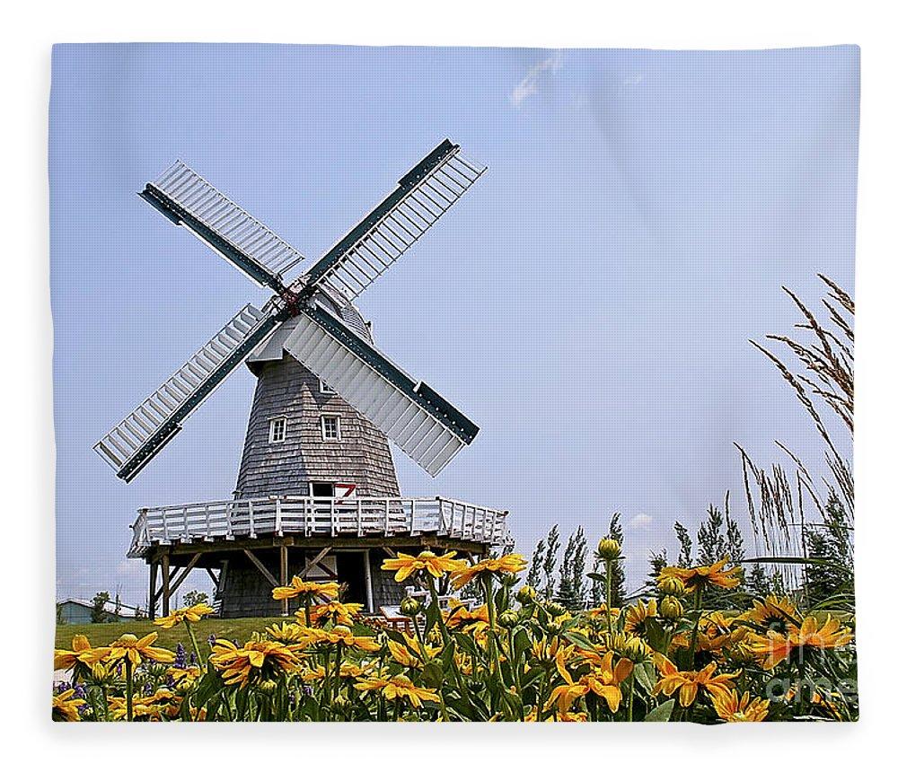 Windmill Fleece Blanket featuring the photograph Windmill by Teresa Zieba