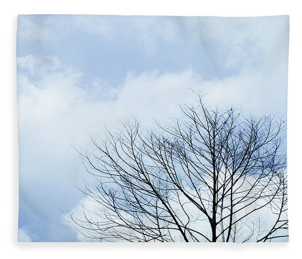Winter Fall White Sky Fleece Blanket featuring the photograph Winter Tree by Adelista J