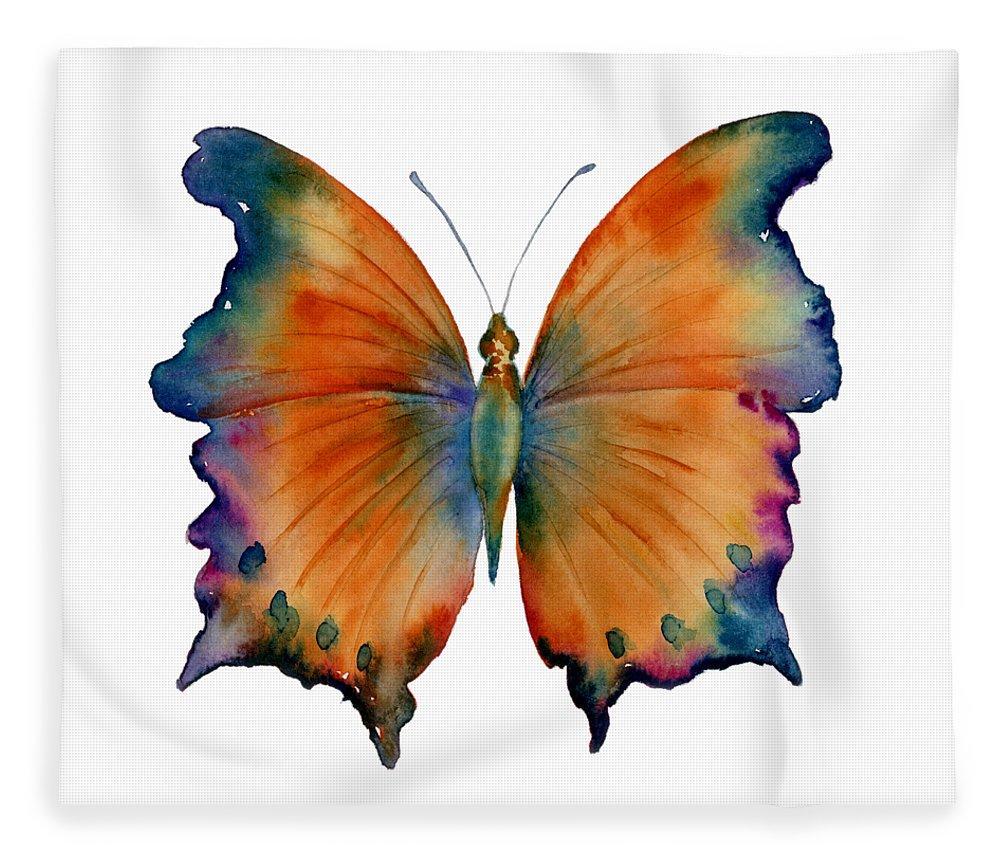 Wizard Butterfly Fleece Blanket featuring the painting 1 Wizard Butterfly by Amy Kirkpatrick