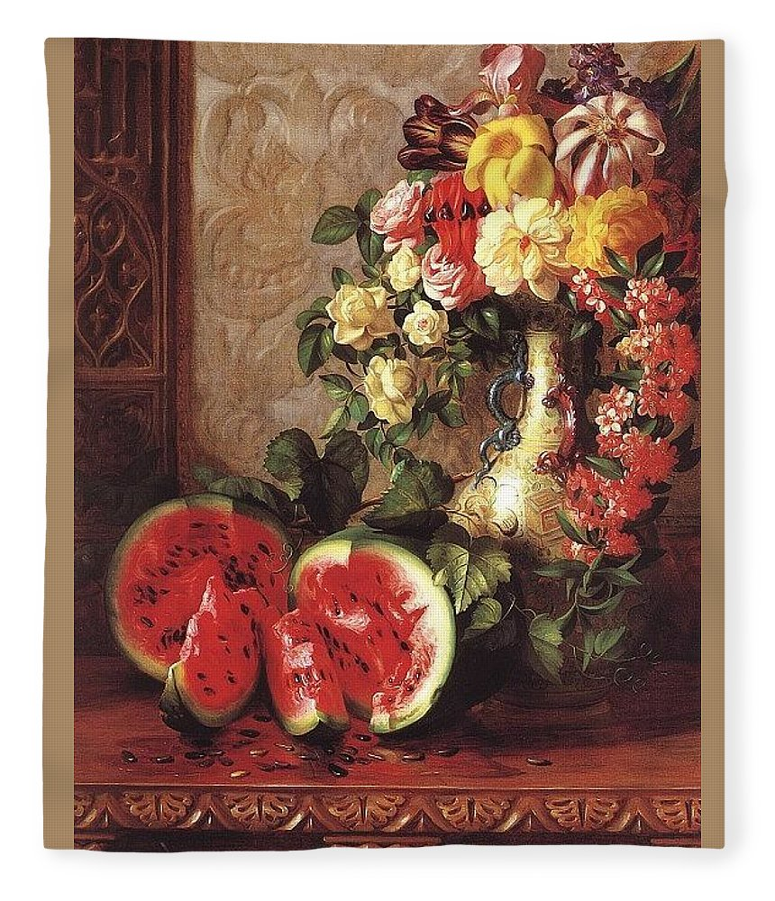 Vase Fleece Blanket featuring the digital art bs- George Henry Hall- Still Life George Henry Hall by Eloisa Mannion