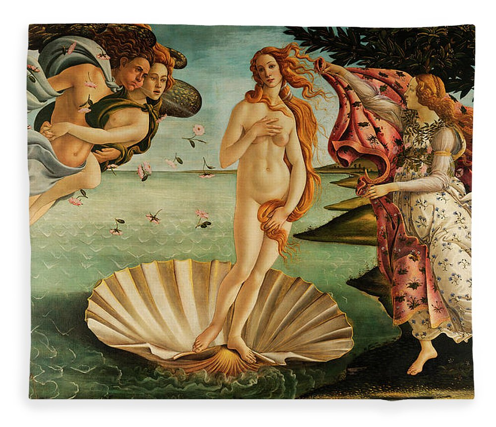 Birth Of Venus Fleece Blanket featuring the painting The Birth Of Venus by Sandro Botticelli