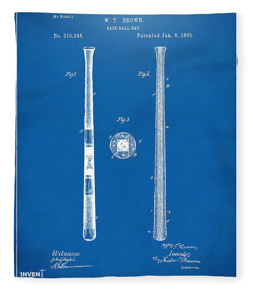 1885 baseball bat patent artwork blueprint fleece blanket for sale baseball fleece blanket featuring the digital art 1885 baseball bat patent artwork blueprint by nikki malvernweather Images