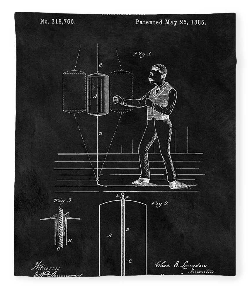 1885 Punching Bag Patent Fleece Blanket featuring the drawing 1885 Boxing Bag Patent 1885 by Dan Sproul