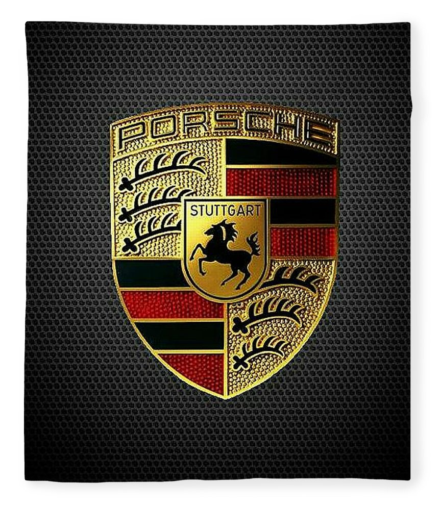 Porsche Logo Fleece Blanket featuring the digital art Porsche Logo by Max Dedrick