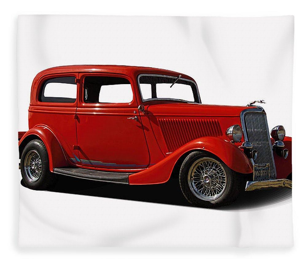 1934 Fleece Blanket featuring the photograph 1934 Ford 2 Door Sedan by Nick Gray