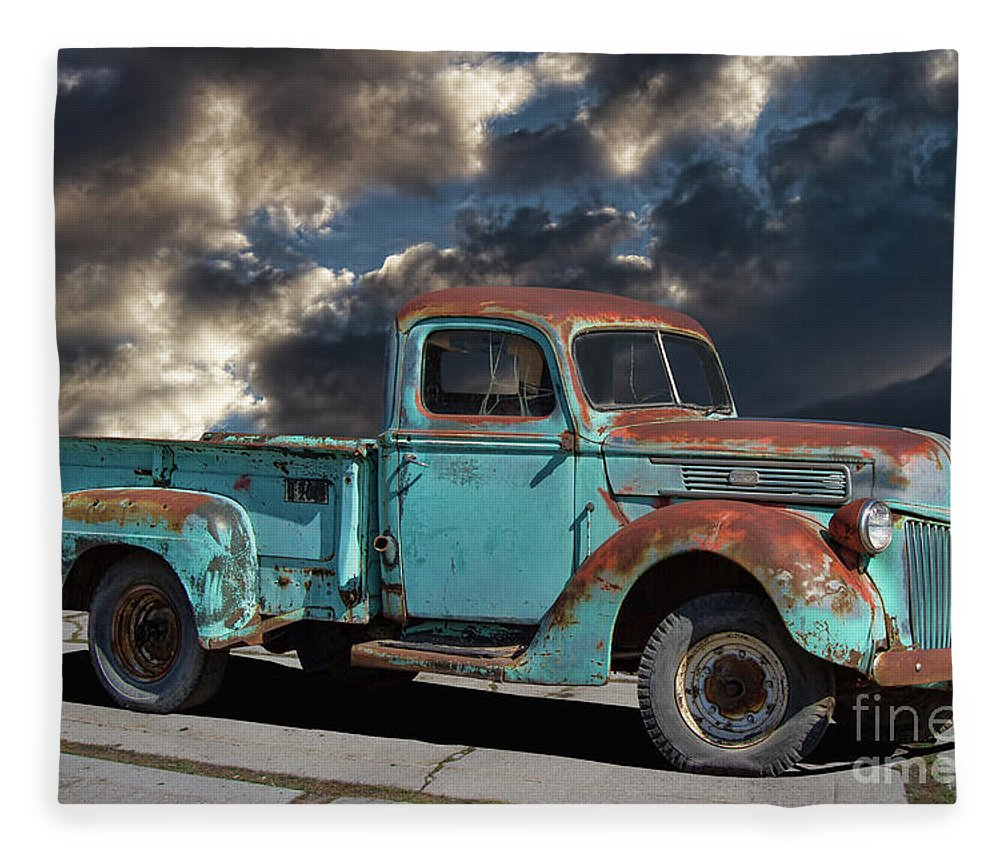 1941 Rusty Ford Pickup Truck Fleece Blanket For Sale By Nick Gray Featuring The Photograph