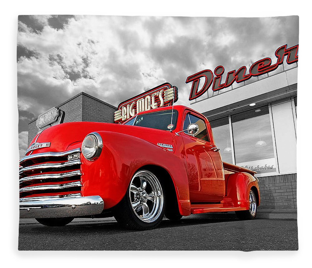 Chevrolet Truck Fleece Blanket featuring the photograph 1952 Chevrolet Truck At The Diner by Gill Billington