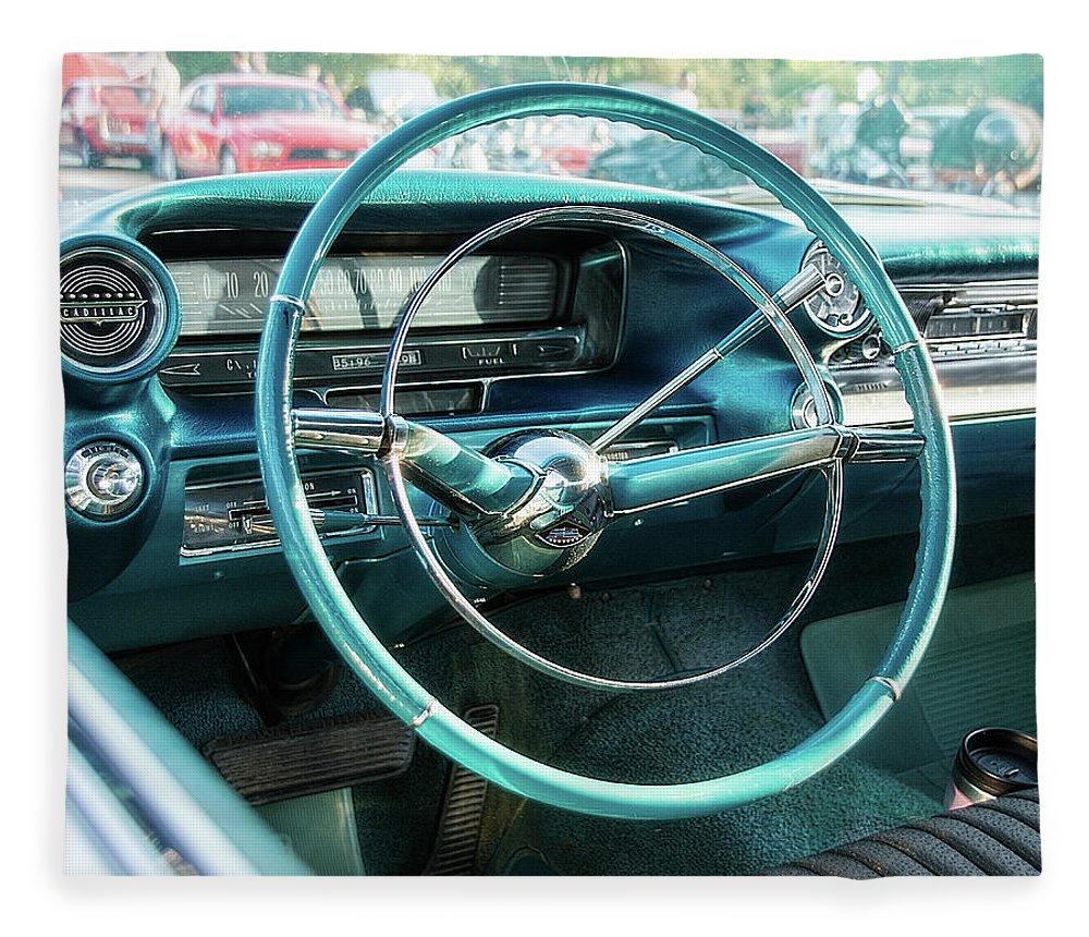 1950s Fleece Blanket featuring the photograph 1959 Cadillac Sedan Deville Series 62 Dashboard by Jon Woodhams