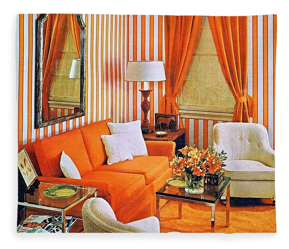 1960 70 Stylish Fleece Blanket featuring the photograph 1960 70 Stylish Living Room Advertisement Orange And Stripes Groovy Baby by R Muirhead Art