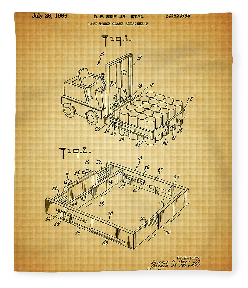 1966 Forklift Clamp Patent Fleece Blanket featuring the mixed media 1966 Forklift Clamp Patent by Dan Sproul