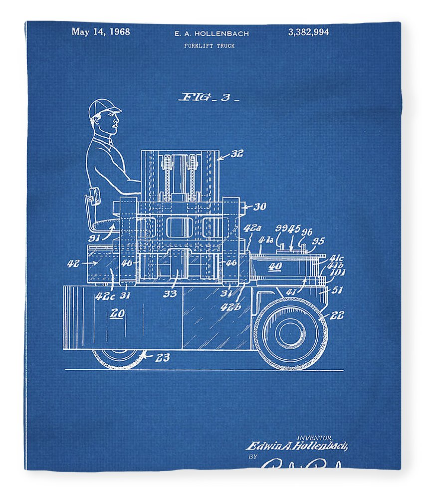 Forklift Patent Drawing Fleece Blanket featuring the mixed media 1968 Lift Truck Patent by Dan Sproul
