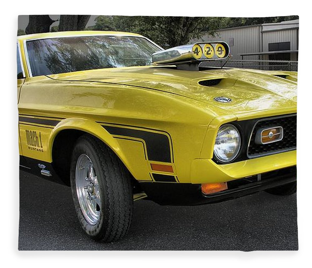Classic cars fleece blanket featuring the photograph 1972 ford mustang mach 1 by richard rizzo
