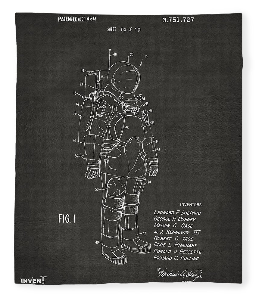 Space Suit Fleece Blanket featuring the digital art 1973 Space Suit Patent Inventors Artwork - Gray 1973 by Nikki Marie Smith
