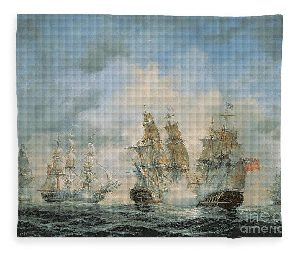 Seascape; Navel; Sea; Ship; Ships; Navel Engagement; Flag; Flags; Cloud; Clouds; Battle; Battling; Sailing; Sailing Ships Fleece Blanket featuring the painting 19th Century Naval Engagement In Home Waters by Richard Willis