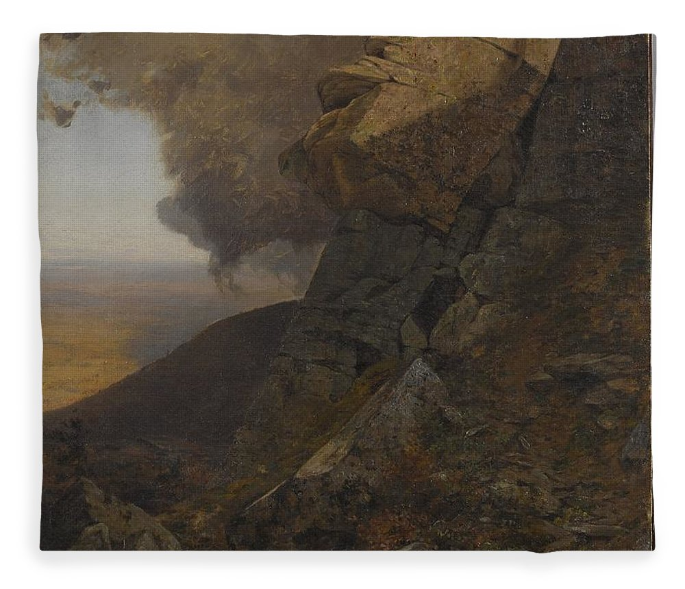 Jervis Mcentee (american Fleece Blanket featuring the painting A Cliff In The Katskills by MotionAge Designs