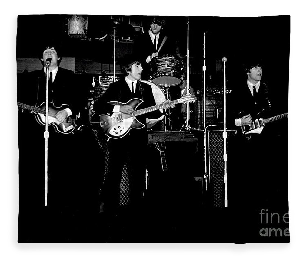 Beatles Fleece Blanket featuring the photograph Beatles In Concert 1964 by Larry Mulvehill