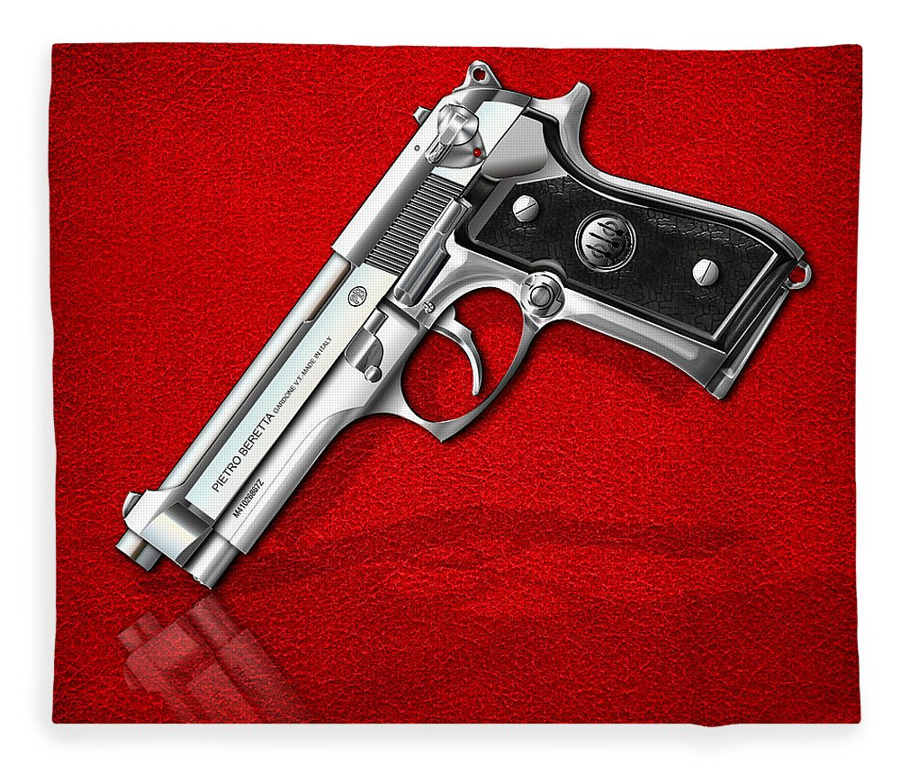 The Armory By Serge Averbukh Fleece Blanket featuring the photograph Beretta 92fs Inox Over Red Leather by Serge Averbukh