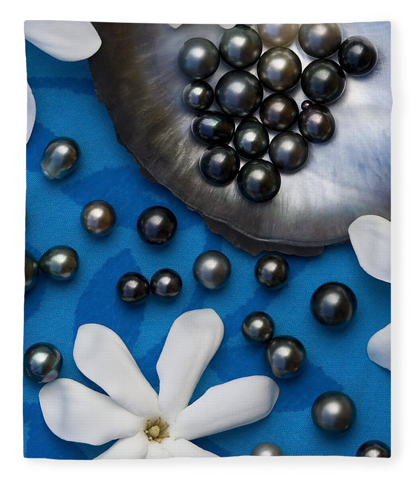 Pearl Fleece Blanket featuring the photograph Black Pearls And Tiare Flowers by Jean-Louis Klein & Marie-Luce Hubert