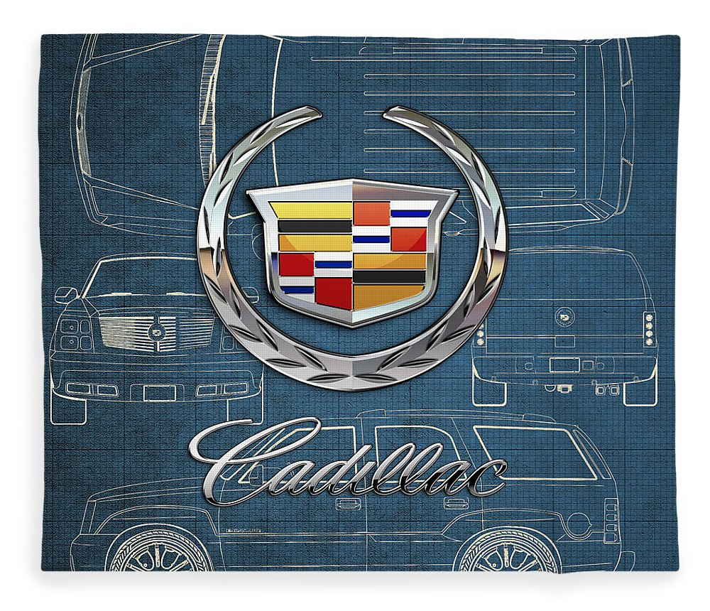 'wheels Of Fortune' By Serge Averbukh Fleece Blanket featuring the photograph Cadillac 3 D Badge over Cadillac Escalade Blueprint by Serge Averbukh