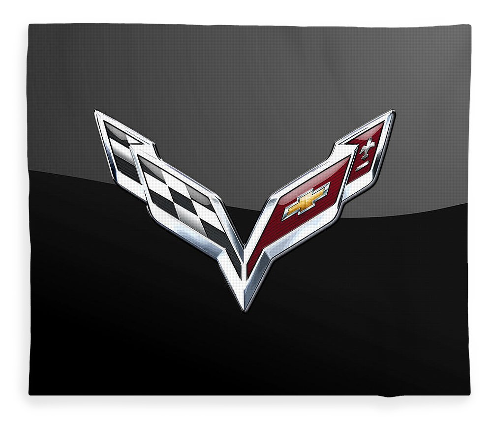 �wheels Of Fortune� Collection By Serge Averbukh Fleece Blanket featuring the photograph Chevrolet Corvette 3D Badge on Black by Serge Averbukh