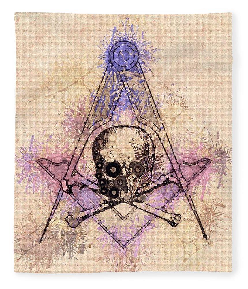 Freemason Fleece Blanket featuring the painting Freemason, Mason, Masonic, Lodge, Symbol by Esoterica Art Agency