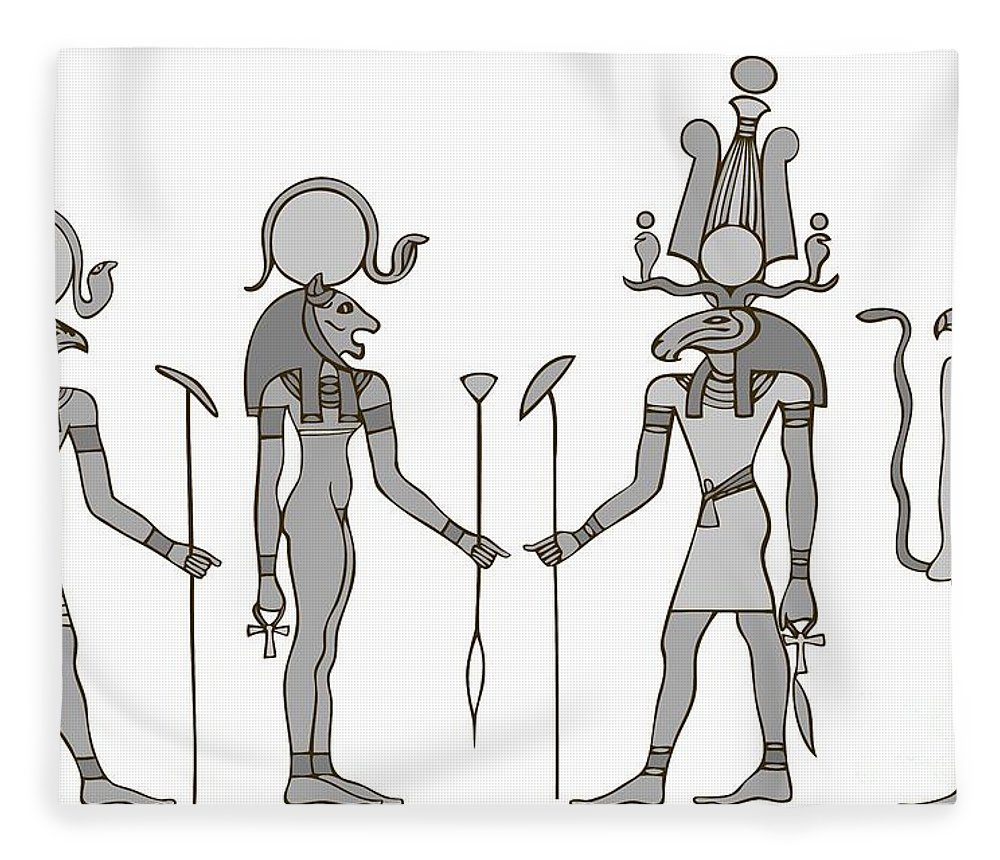 Apis Fleece Blanket featuring the digital art Gods Of Ancient Egypt by Michal Boubin