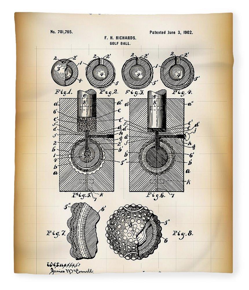 Patent Fleece Blanket featuring the digital art Golf Ball Patent 1902 by Daniel Hagerman