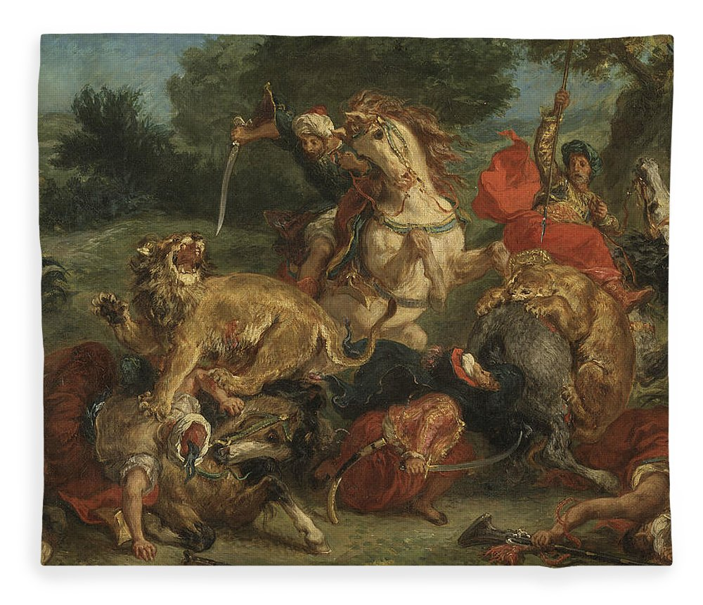 Eugene Delacroix Fleece Blanket featuring the painting Lion Hunt by Eugene Delacroix