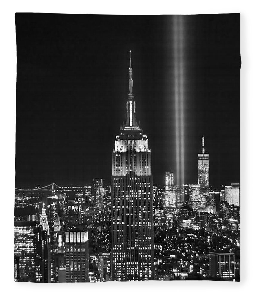 New York City Skyline At Night Fleece Blanket featuring the photograph New York City Tribute In Lights Empire State Building Manhattan At Night Nyc by Jon Holiday