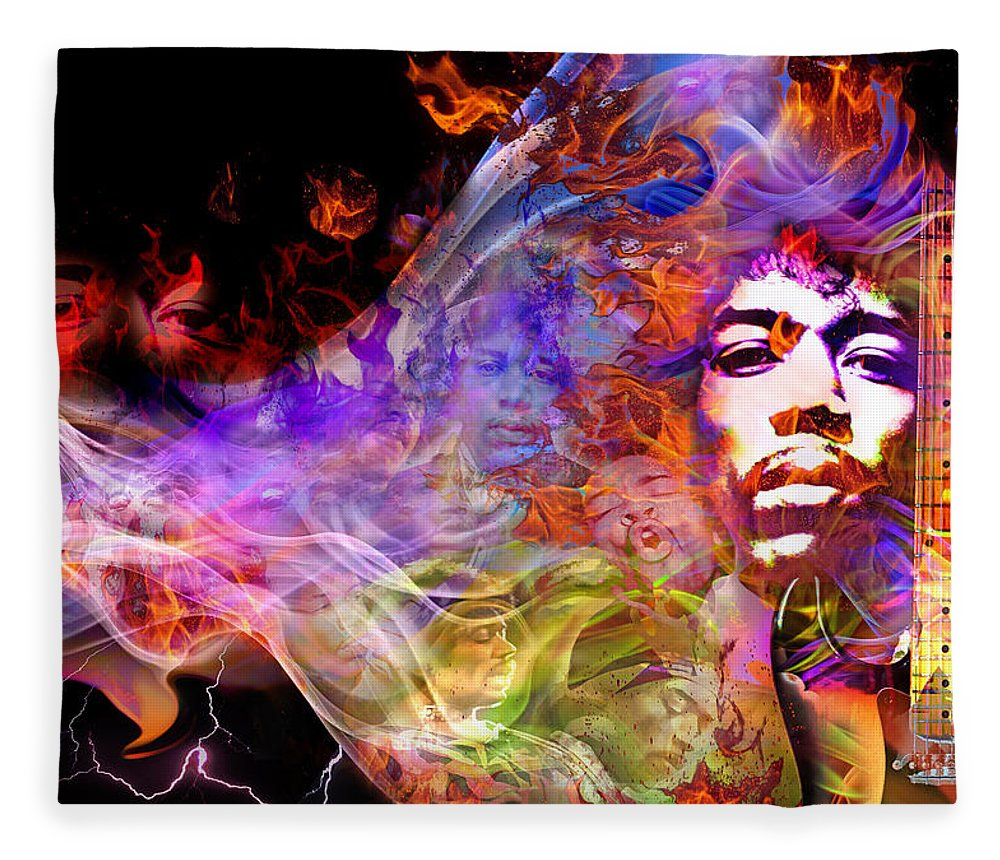 Jimi Hendrix Fleece Blanket featuring the digital art Not To Die But To Be Reborn by Mal Bray