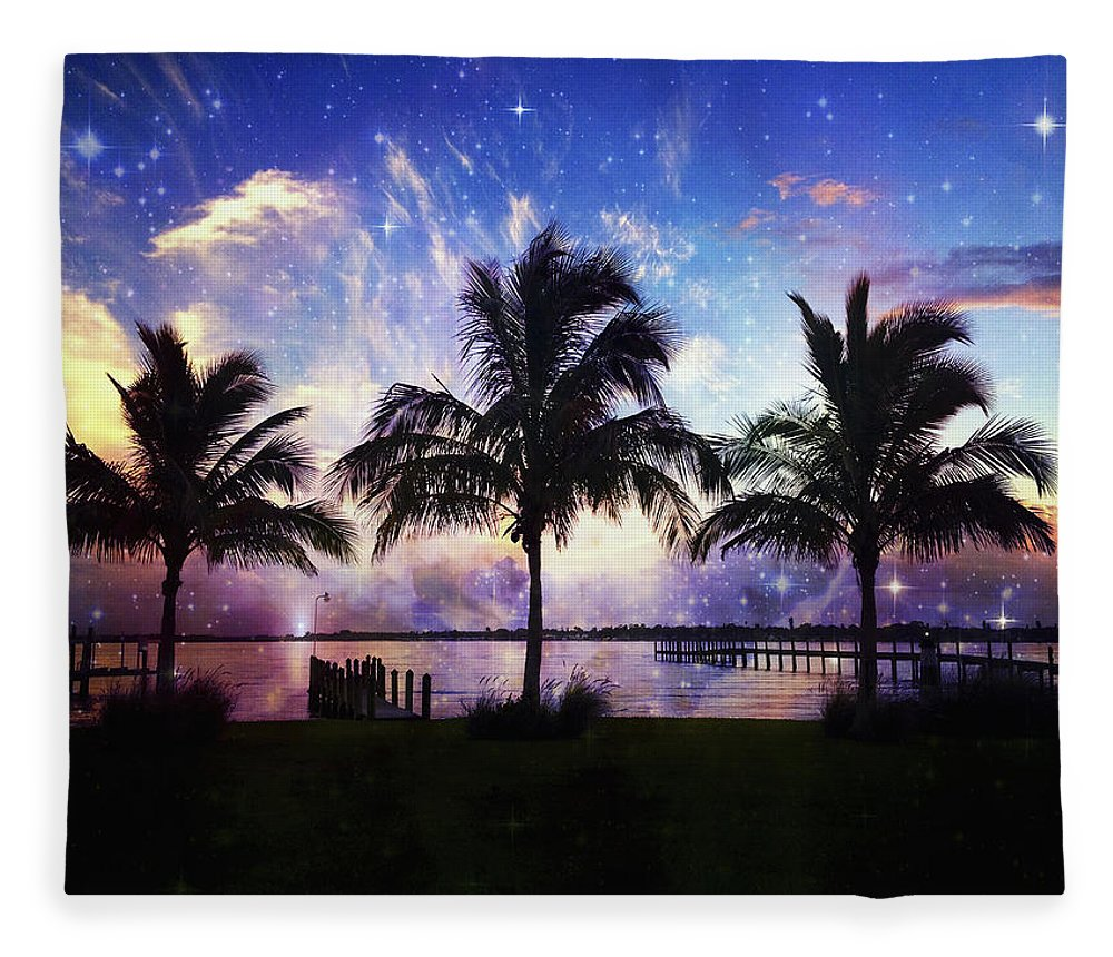 Palm Trees Fleece Blanket featuring the photograph Palm Trees by Skip Nall