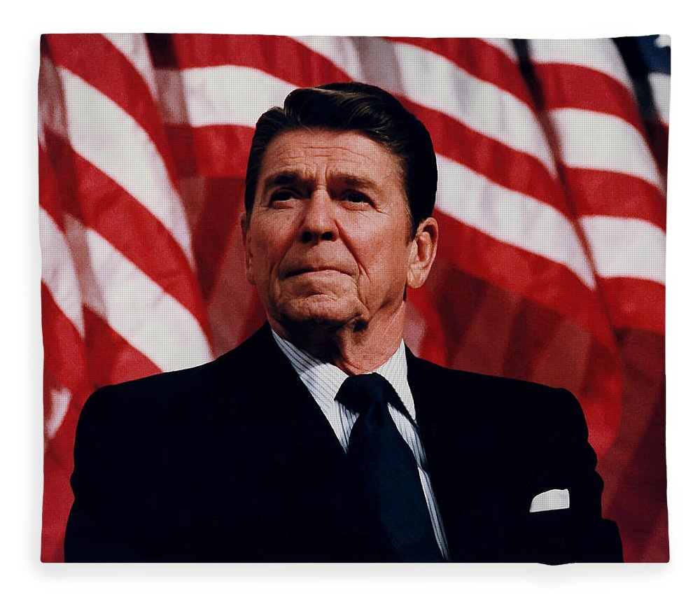 Ronald Reagan Fleece Blanket featuring the photograph President Ronald Reagan by War Is Hell Store