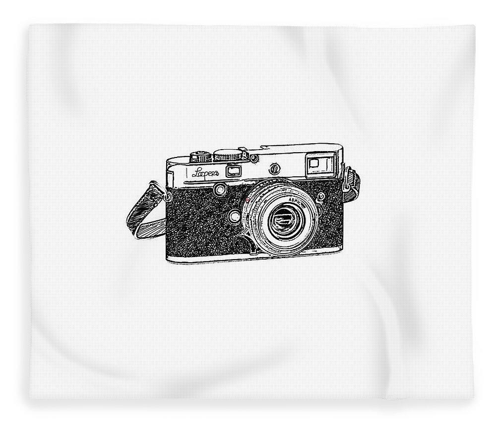 Analog Fleece Blanket featuring the digital art Rangefinder Camera by Setsiri Silapasuwanchai